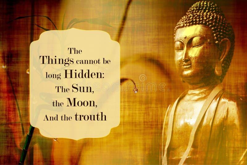 Drie dingen kunnen niet lang zijn verborgen de zon, de maan, en de waarheid stock illustratie