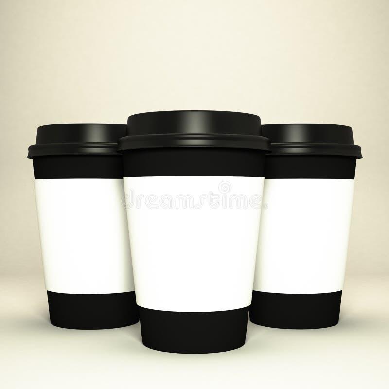 Drie document koffiekoppen vector illustratie