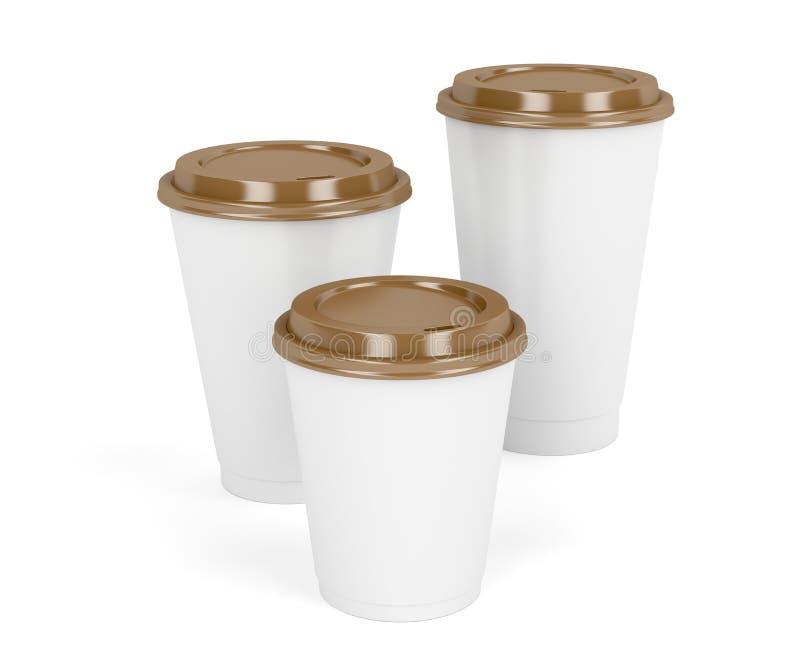 Drie document koffiekoppen royalty-vrije illustratie
