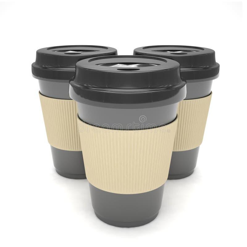 Drie document koffiekoppen stock illustratie