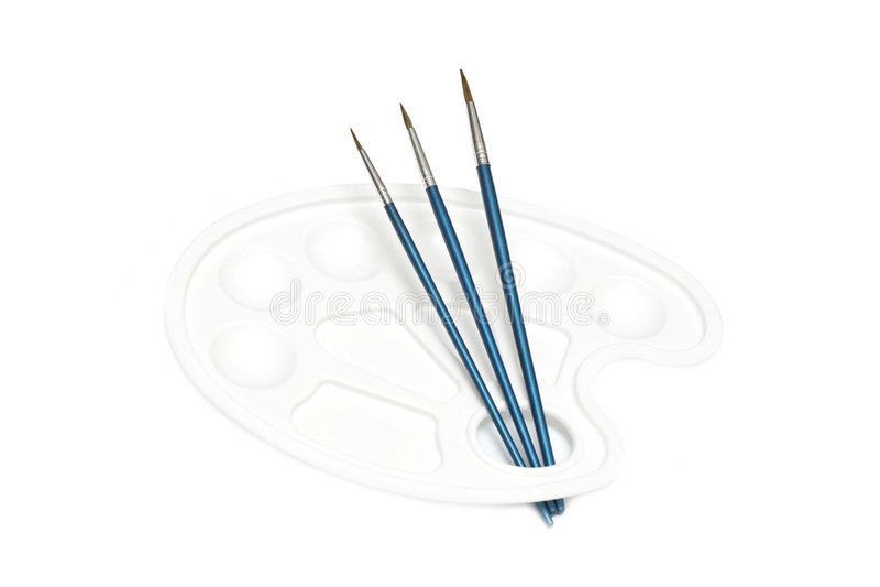 Drie donkerblauwe borstels stock afbeeldingen