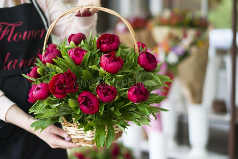 Drie donkere roze pioenenbloemen in een vaas binnen enkel Geregend royalty-vrije stock foto's