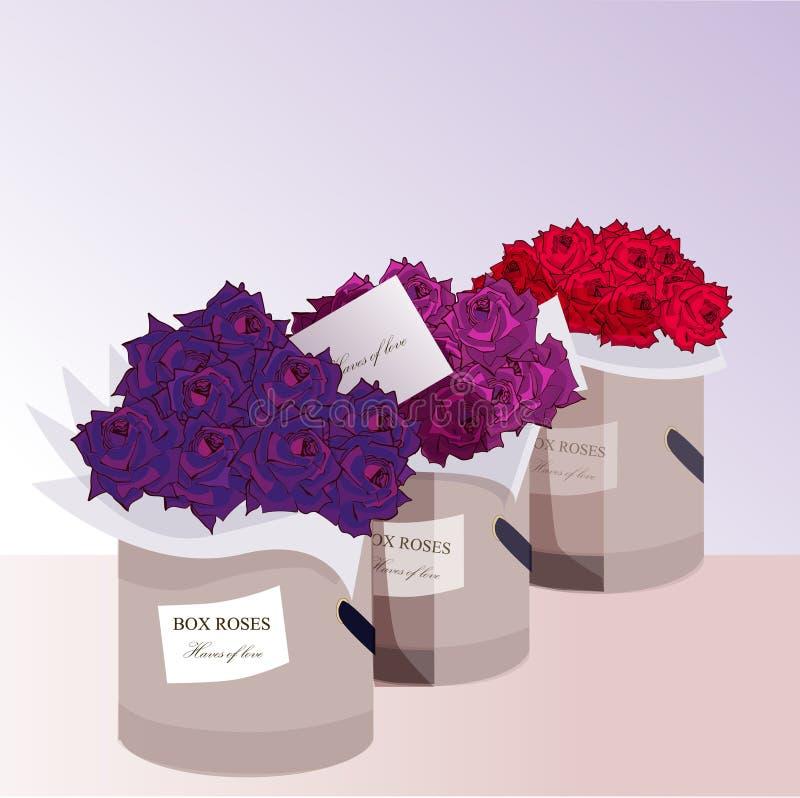 Drie dozen met rozen stock afbeeldingen