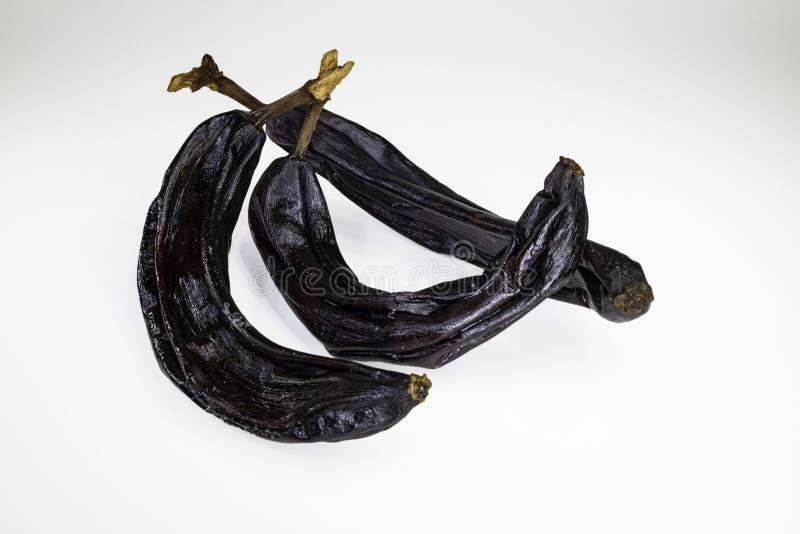Drie droge bananen stock afbeelding