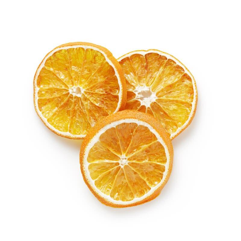 Drie droge oranje plakken van hierboven royalty-vrije stock fotografie