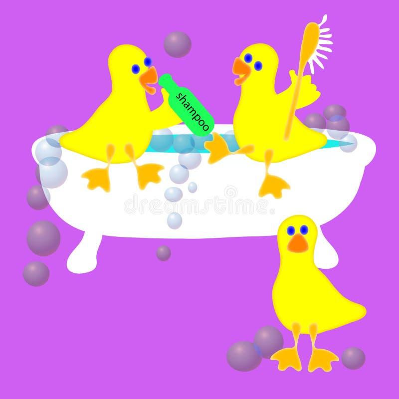 Drie Eenden in een Ton vector illustratie