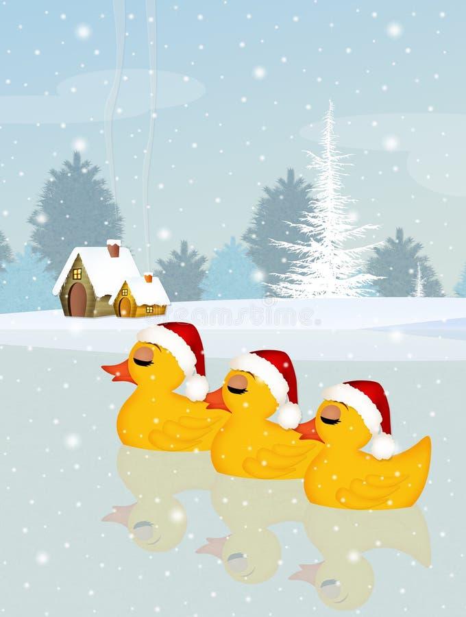 Drie eenden met Kerstmishoed royalty-vrije illustratie