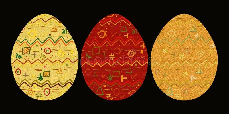 Drie eieren met een vrolijk abstract patroon vector illustratie