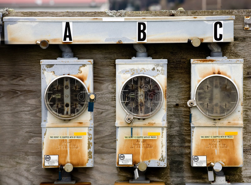 Drie Elektrische Meters royalty-vrije stock fotografie