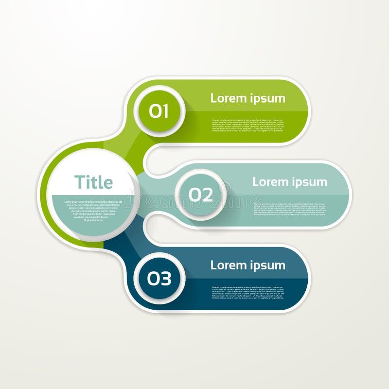 Drie elementenbanner 3 stappenontwerp, infographic grafiek, royalty-vrije illustratie