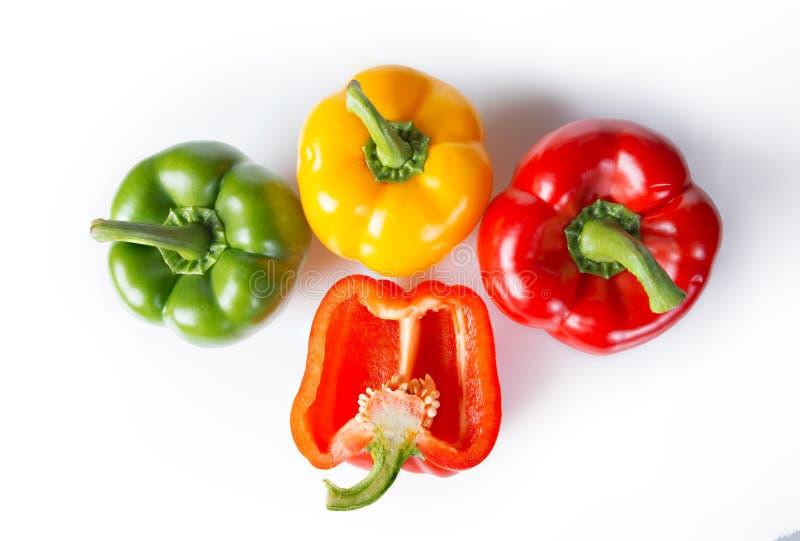 Drie en een half groene paprika's royalty-vrije stock foto