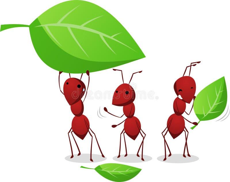 Drie en Mieren die doorbladert aan de mierenhoop werken dragen vector illustratie