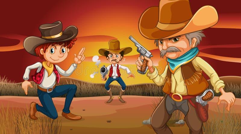 Drie enge cowboys bij de woestijn royalty-vrije illustratie