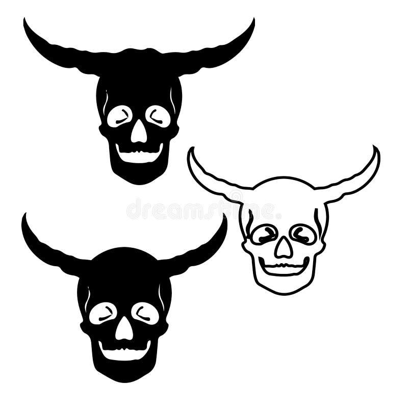 Drie enge schedels met hoornen, silhouet-trekt op witte backg vector illustratie