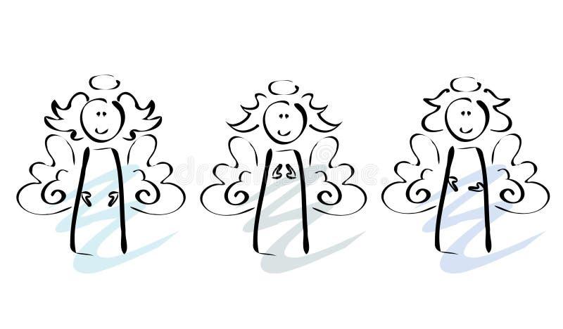 Drie engelen royalty-vrije illustratie