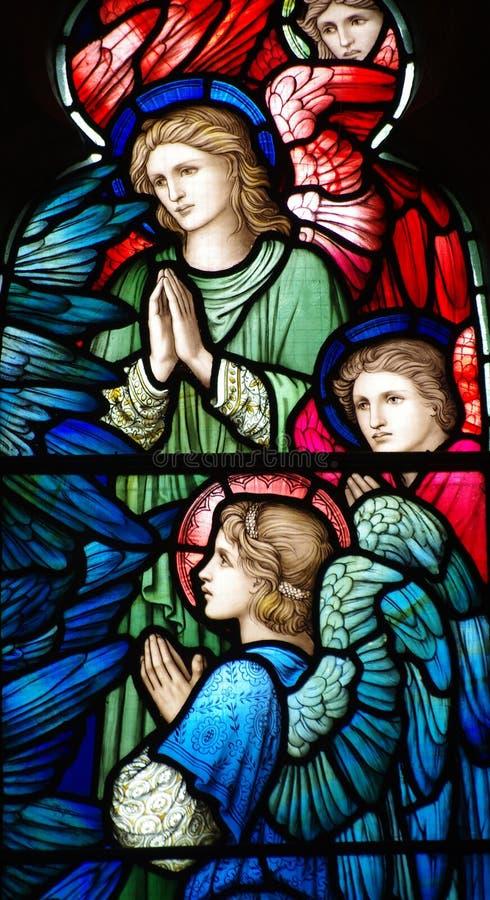 Drie engelen (het bidden) in gebrandschilderd glas royalty-vrije stock afbeelding