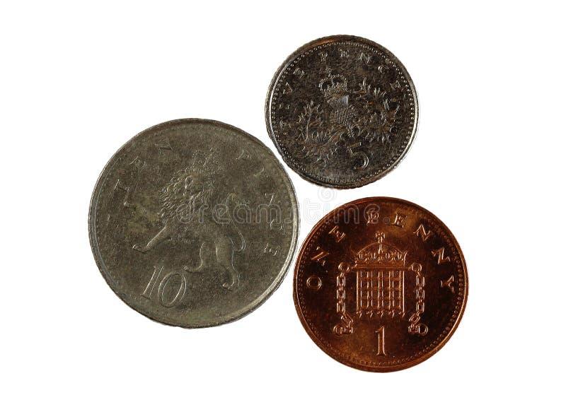 Drie Engelse Muntstukken Één Vijf Tien Pence royalty-vrije stock afbeeldingen