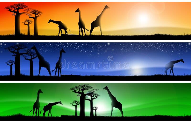 Drie fantastische Afrikaanse landschappen royalty-vrije illustratie