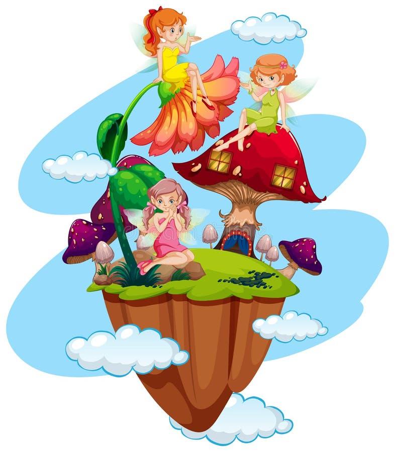 Drie feeën en paddestoelhuis stock illustratie