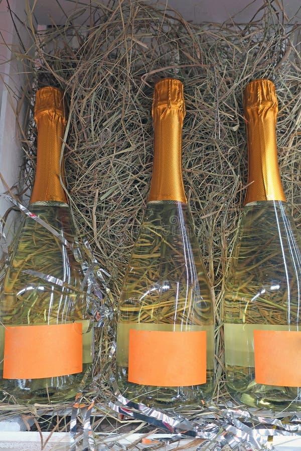 Drie flessen champagne die op stro liggen stock fotografie