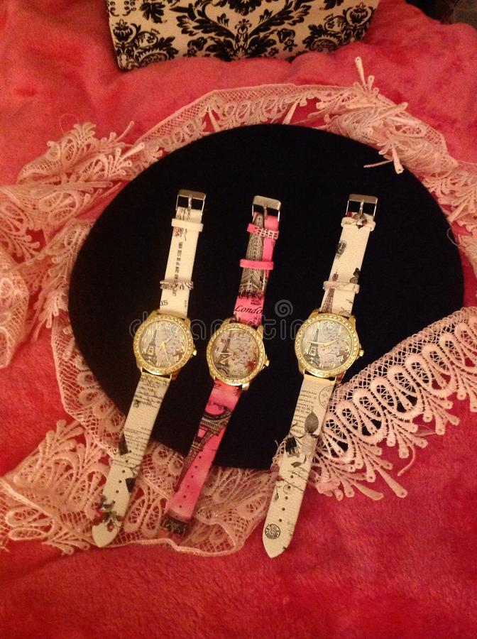 Drie Franse horloges stock foto's