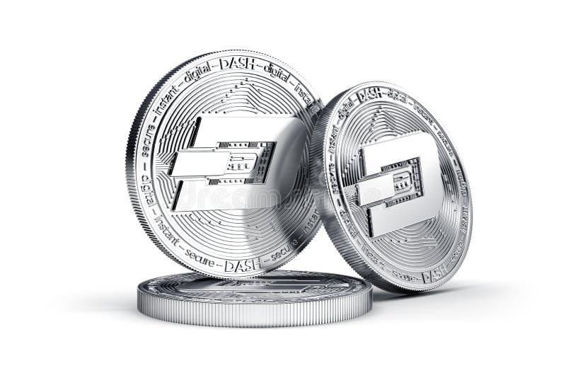 Drie fysieke die muntstukken van het Streepjeconcept op witte achtergrond worden geïsoleerd royalty-vrije illustratie