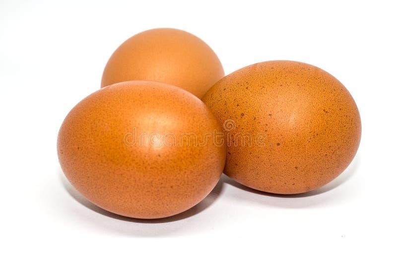 Drie geïsoleerde Eieren royalty-vrije stock afbeelding