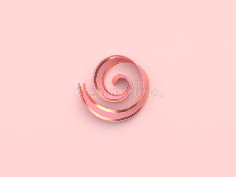 Drie geeft het abstracte 3d concept van de lint roze gouden decoratie terug stock illustratie