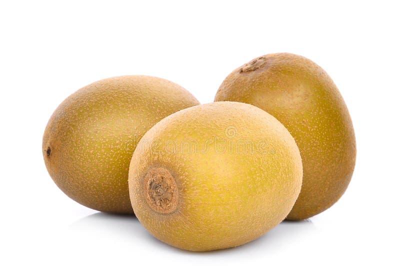 Drie geheel geel of gouden die kiwifruit op wit wordt geïsoleerd royalty-vrije stock fotografie