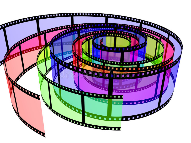 Drie gekleurde filmstrippen stock illustratie