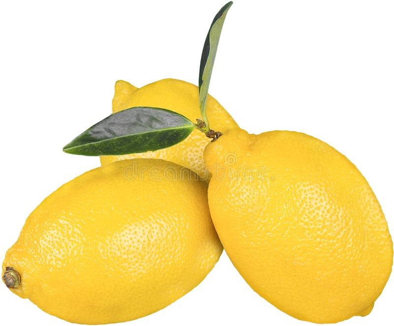 Drie gele rijpe die citroenen op wit worden geïsoleerd royalty-vrije stock fotografie
