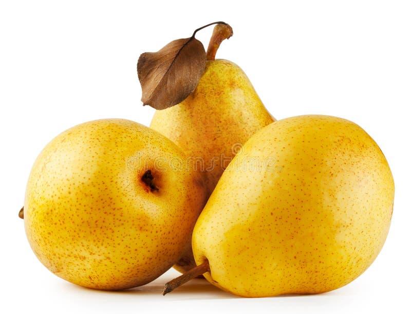 Drie gele sappige peren stock afbeelding