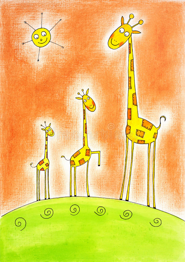 Drie gelukkige giraffen, de tekening van het kind, waterverf het schilderen stock illustratie