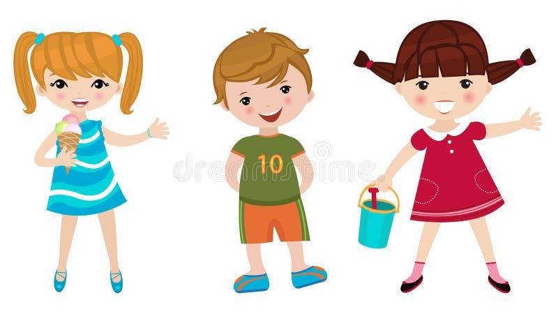 Drie gelukkige jonge geitjes vector illustratie