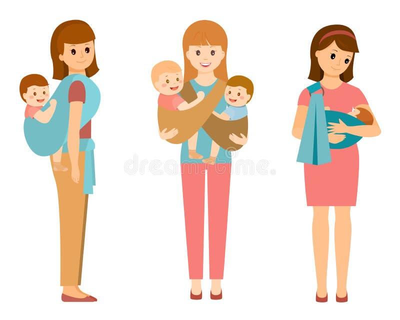 Drie gelukkige moeders stock illustratie