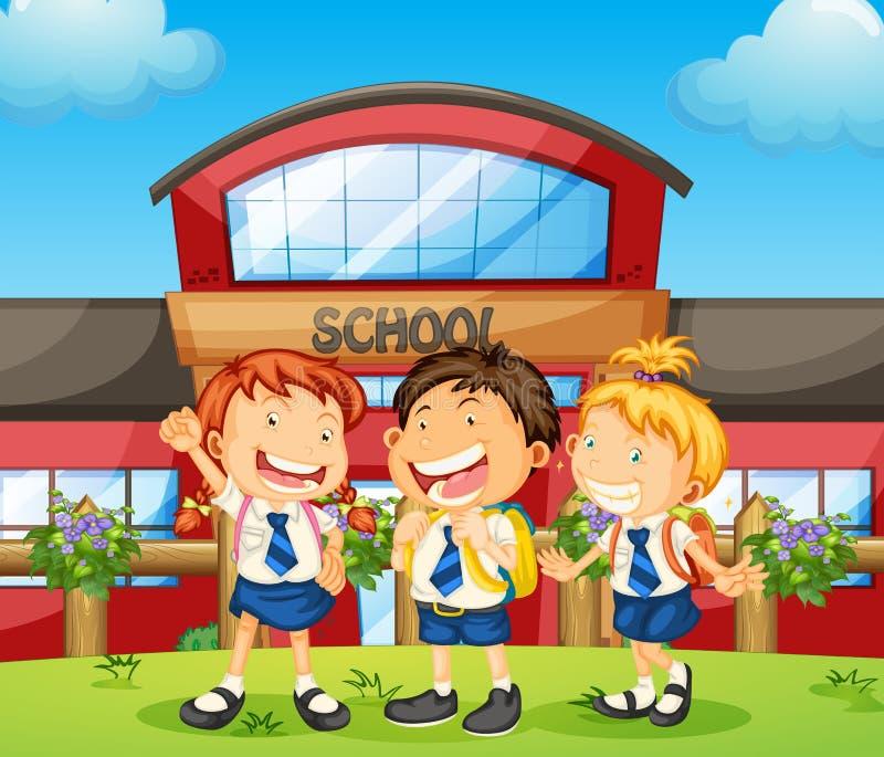 Drie gelukkige studenten stock illustratie