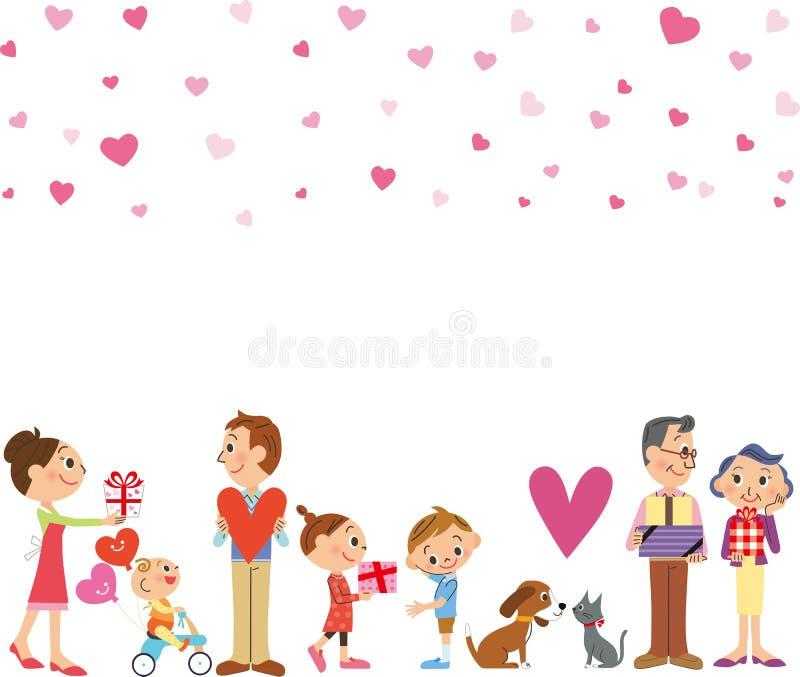 Drie-generatie familie en de Dag van Valentine ` s royalty-vrije illustratie