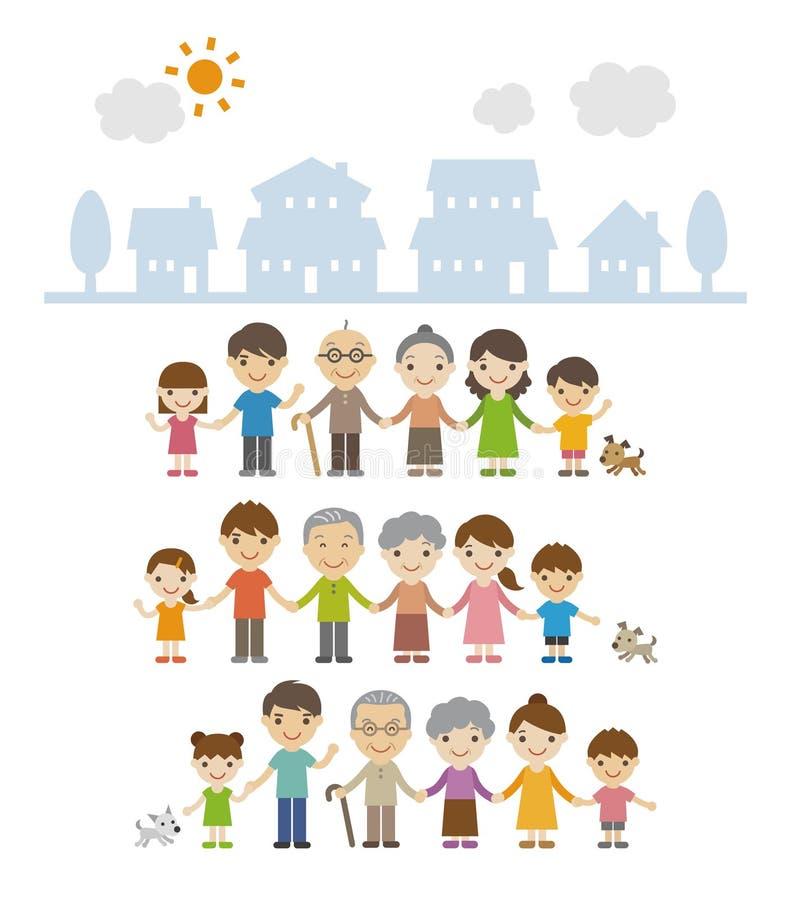 Drie generatiefamilies die zich voor huizen verenigen royalty-vrije illustratie