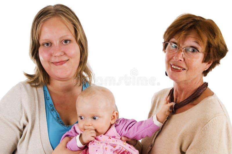 Drie generaties 12 op wit royalty-vrije stock foto