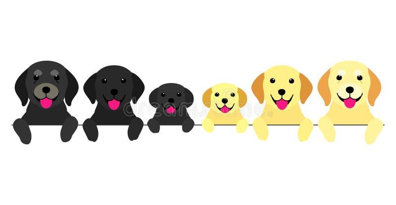 Drie generaties van hondengrens royalty-vrije illustratie