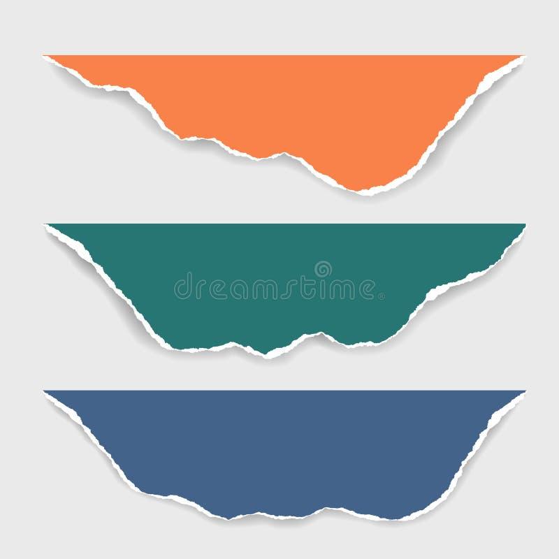 Drie gescheurde bladen van document van verschillende kleuren met schaduw, isol royalty-vrije illustratie