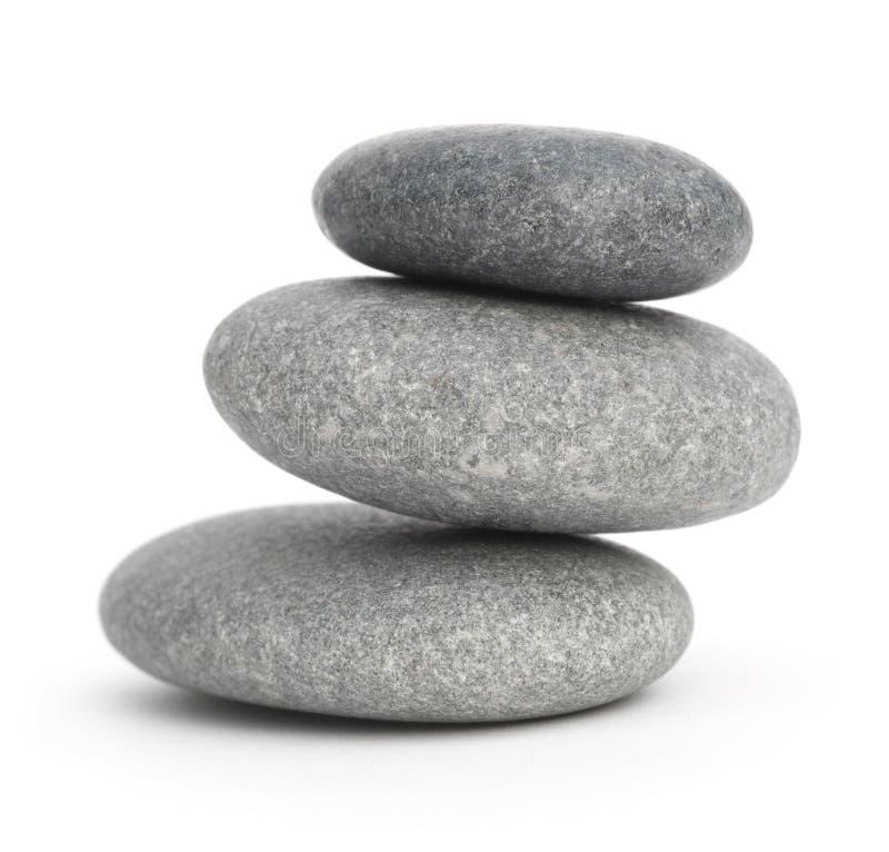 Drie gestapelde kiezelstenen, stenen plie royalty-vrije stock foto's