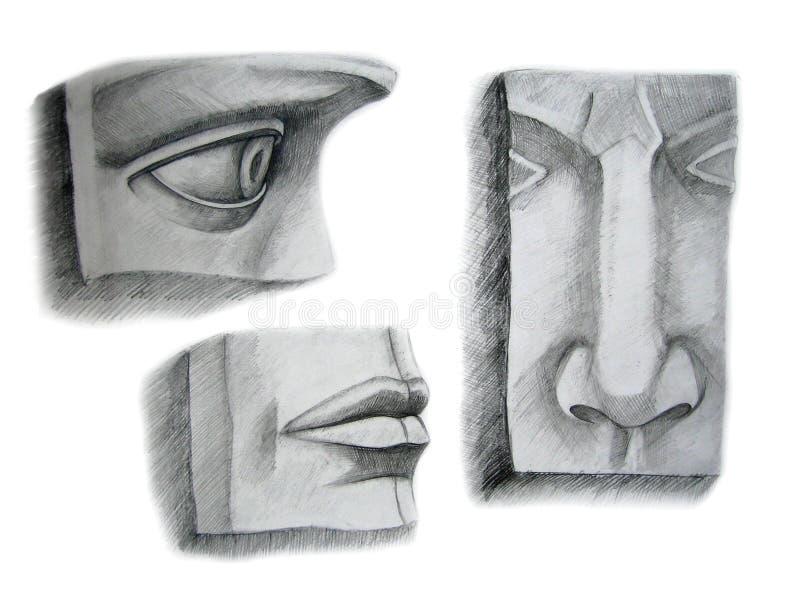 Drie gezichtsdelen vector illustratie