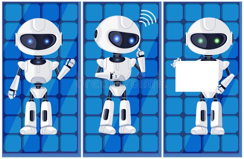 Drie Glanzende Witte Ai Machines Vectorillustratie royalty-vrije illustratie