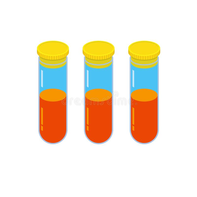 Drie glasflesjes met oranje vloeistof stock illustratie