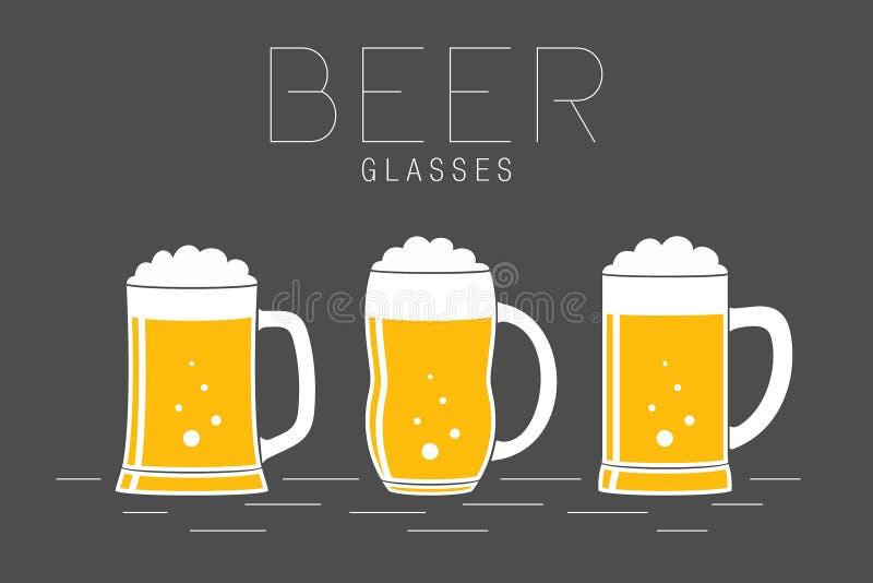 Drie glazen bier royalty-vrije illustratie