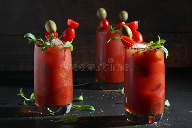 Drie glazen met Bloody Marycocktail royalty-vrije stock afbeelding