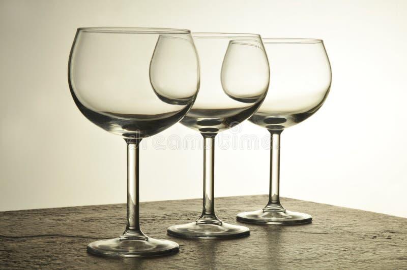 Drie Glazen van de Wijn royalty-vrije stock afbeeldingen