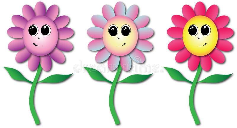 Drie glimlachend Bloemenbeeldverhaal vector illustratie