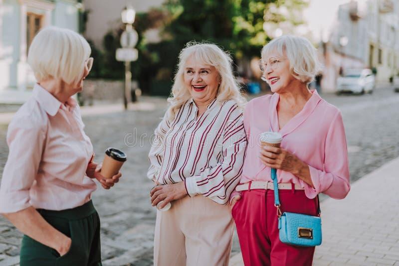 Drie glimlachende bejaarden communiceren op weg royalty-vrije stock afbeelding